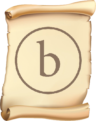 An ancient scroll with the bopyright logo scribed upon it in brown ink
